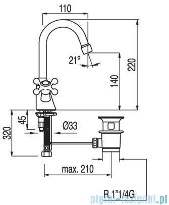Tres Clasic-Tres Bateria umywalkowa Ceramiczna bez korka automatycznego 1.32.104