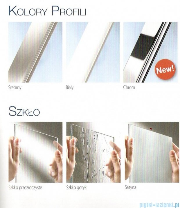 Novellini Parawan Aurora2 120x150cm profil chrom szkło przezroczyste AURORAN2-1K