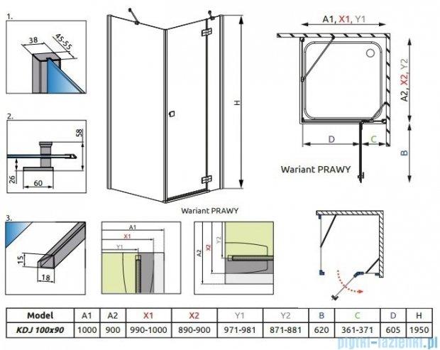 Radaway Almatea Kdj Gold kabina prysznicowa 100x90 prawa szkło brązowe 32143-09-08NR