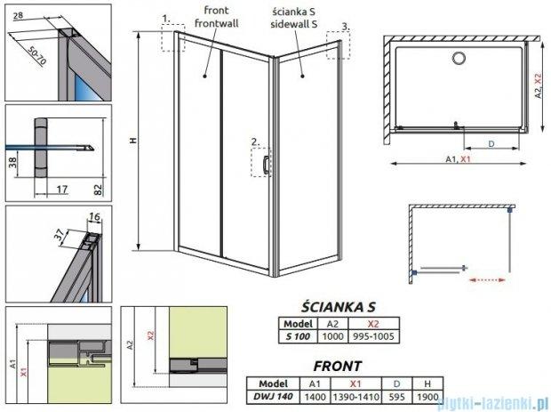 Radaway Premium Plus DWJ+S kabina prysznicowa 140x100cm szkło przejrzyste 33323-01-01N/33423-01-01N