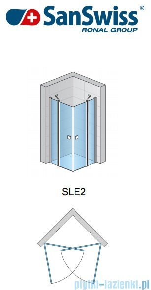 SanSwiss Swing Line SLE2 Wejście narożne 70-120cm profil połysk Prawe SLE2DSM15007