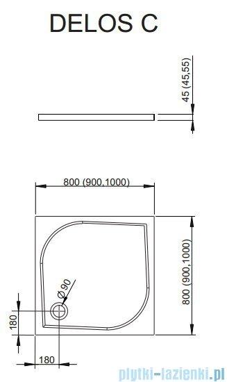 Radaway Eos II DWD+2S kabina 90x90x90x197 szkło przejrzyste + brodzik Delos C + syfon 3799401-01/3799411-01L/3799411-01R/SDC0909-01
