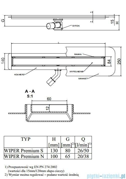 Wiper Odpływ liniowy Premium Ponente 110cm z kołnierzem poler P1100PPS100