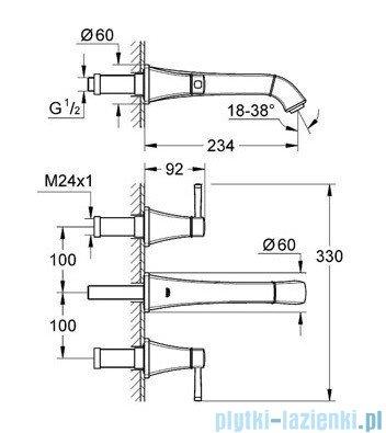 Grohe Grandera 3-otworowa bateria umywalkowa DN15 chrom/złoty 20415IG0