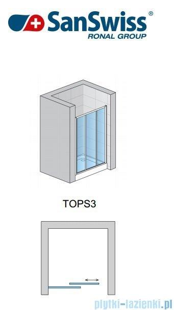 SanSwiss Top-Line TOPS3 Drzwi 3-częściowe 120-180cm profil srebrny TOPS3SM40107