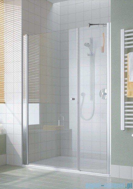 Kermi Atea Drzwi wahadłowe jednoskrzydłowe i pole stałe, prawe, szkło przezroczyste, profile białe 100cm AT1OR100182AK