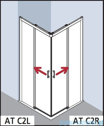 Kermi Atea Wejście narożne prawe, połowa kabiny, szkło przezroczyste, profile białe 100x200cm ATC2R100202AK