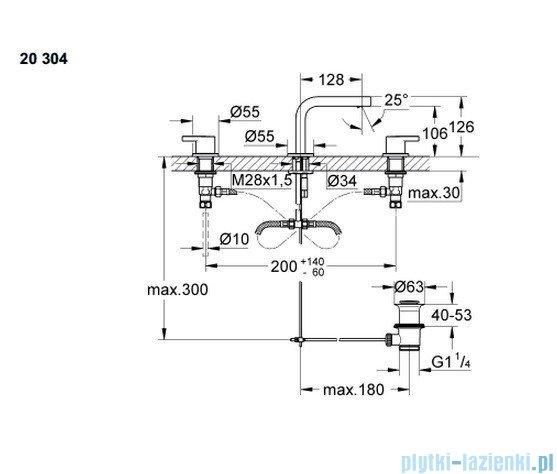 Grohe Lineare 3-otworowa bateria umywalkowa DN 15 niska 20304000