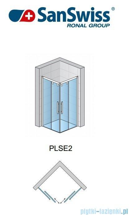 SanSwiss Pur Light S PLSE2 Drzwi narożne rozsuwane 70cm profil połysk szkło przejrzyste Prawe PLSE2D0705007