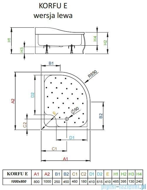 Radaway Korfu E Brodzik półokrągły 100x80 lewy bez obudowy 4E81400-03BL