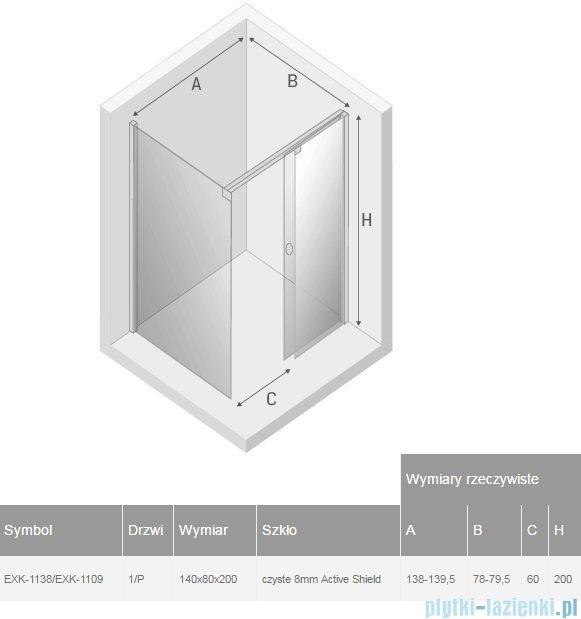 New Trendy kabina Porta 140x80x200cm prawa przejrzyste EXK-1138/EXK-1109
