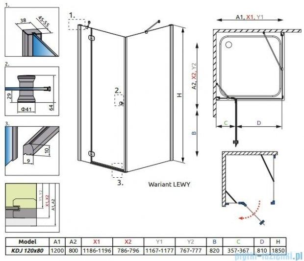 Radaway Torrenta Kdj kabina 120x80 lewa szkło carre + Brodzik Doros D + syfon 32232-01-10NL