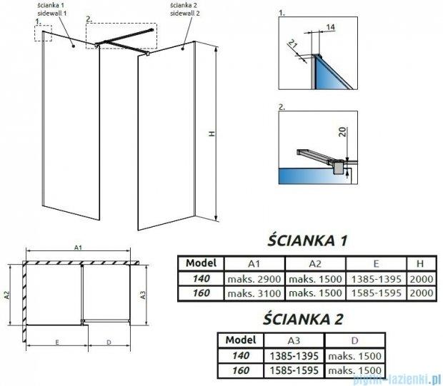 Radaway Modo New III kabina Walk-in 160x140x200 szkło przejrzyste 389164-01-01/389144-01-01/389000-01