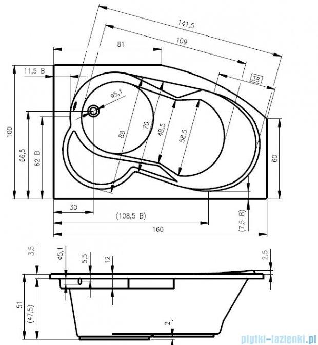 Riho Nora wanna asymetryczna lewa 160x100 z hydromasażem PRO Hydro 6+4+2/Aero11 BA75P7