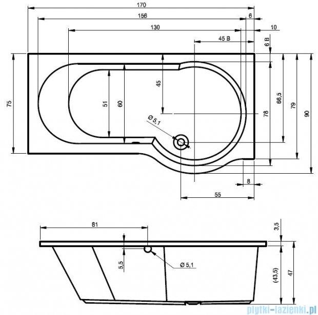 Riho Dorado Wanna asymetryczna 170x75 lewa z hydromasażem PRO Hydro 4+4+2/Aero12 BA81P7