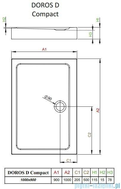 Radaway Doros D Compact brodzik prostokątny 100x90cm SDRD1090-05