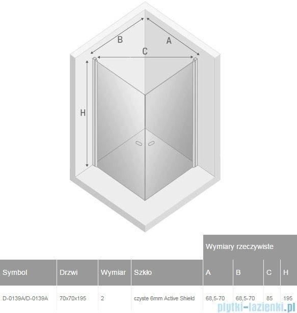 New Trendy New Soleo 70x70x195 cm kabina kwadratowa przejrzyste D-0139A/D-0139A