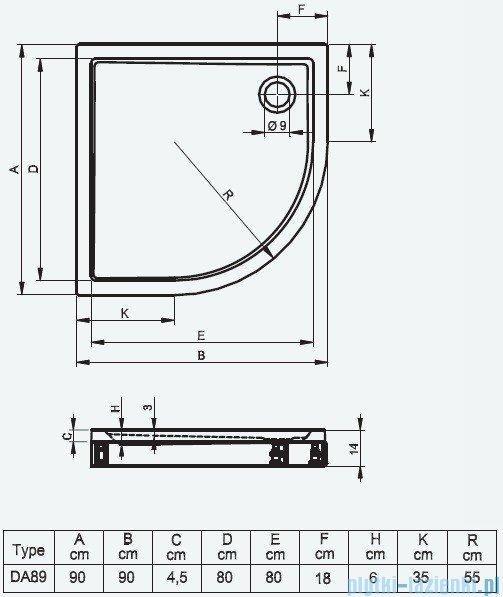 Riho Brodzik półokrągły 281 90x90x14 DA89 + panel + nóżki