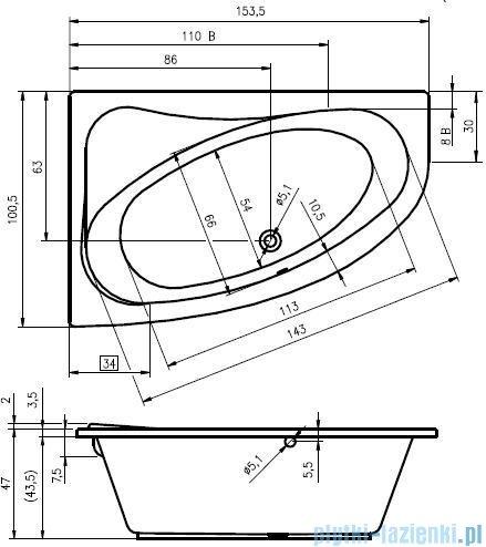 Riho Lyra wanna asymetryczna 153,5x100,5 prawa + nóżki + syfon BA67/08/AMC55