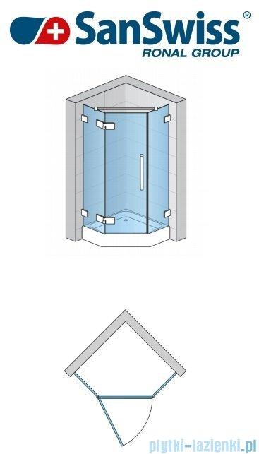 SanSwiss Pur PUR51 Drzwi 1-częściowe do kabiny 5-kątnej 45-100cm profil chrom szkło Satyna Lewe PUR51GSM21049