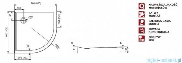 Aquaform Plus 550 brodzik półokrągły płytki ze zintegrowaną obudową 80x80cm 06917