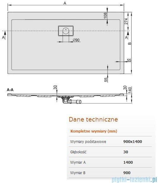Sanplast Space Line brodzik prostokątny 140x90x3cm + syfon 615-110-0120-01-000