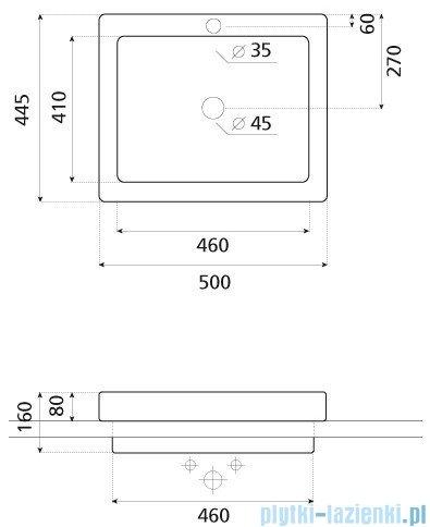 Bathco umywalka blatowa Capri 50x44,5 cm 0011