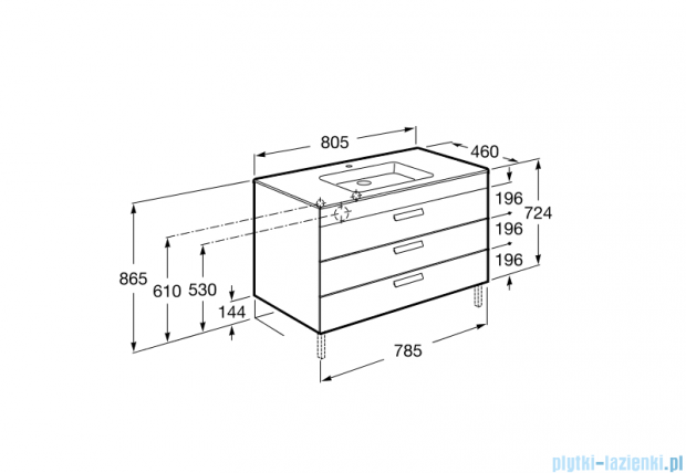 Roca Debba Unik 80 zestaw łazienkowy z 3 szufladami szary antracyt A855974153