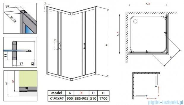 Radaway Premium Plus C Kabina kwadratowa 90x90x170 szkło brąz 30451-01-08N