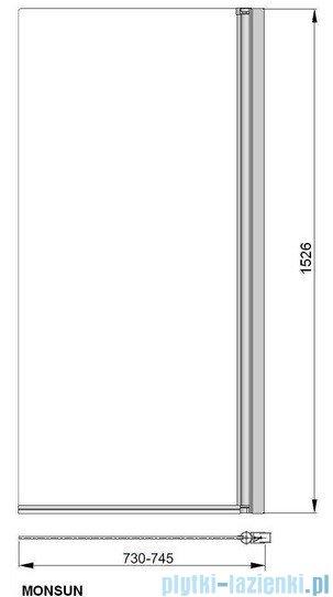 Poolspa Parawan nawannowy prosty Monsun 73x153 cm (lewy/prawy) PI4000095