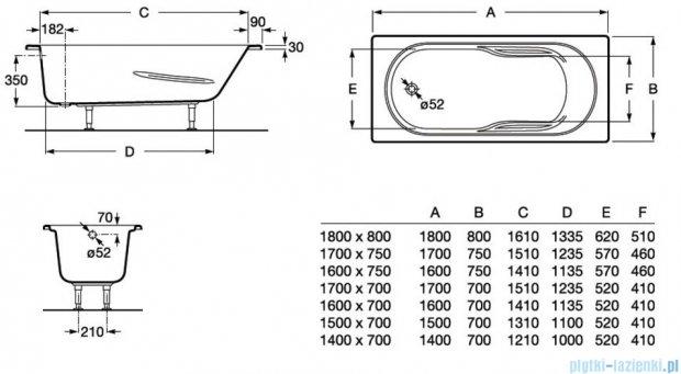 Roca Genova N wanna 160x75cm z hydromasażem Effects Titanium A24T369000