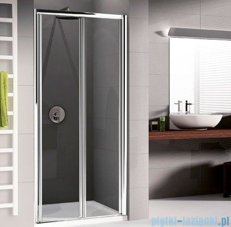 Novellini Drzwi prysznicowe harmonijkowe LUNES S 84 cm szkło przejrzyste profil srebrny LUNESS84-1B