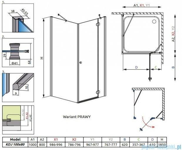 Radaway Torrenta Kdj kabina 100x80 prawa szkło przejrzyste 32242-01-01NR