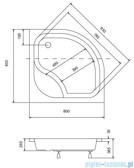 Sea Horse Sigma zestaw kabina natryskowa półokrągła - niska, 80x80 bluszcz + brodzik BKZ1/3/KA3/