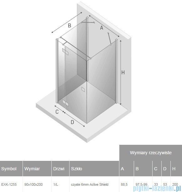 New Trendy Reflexa 90x100x200 cm kabina trójścienna lewa przejrzyste EXK-1255