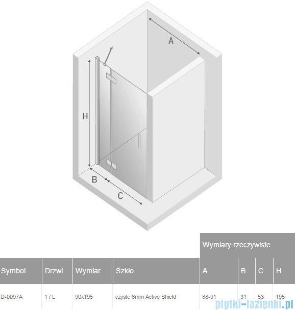 New Trendy New Renoma drzwi wnękowe 90x195 cm przejrzyste lewa D-0097A