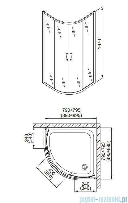Aquaform Nigra kabina prysznicowa półokrągła 90x90x167cm chrom szkło satinato 100-092122P