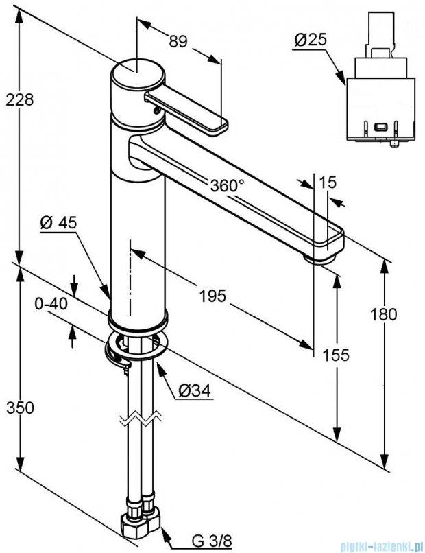Kludi Zenta Jednouchwytowa bateria kuchenna DN 10 czarny/chrom 389738675