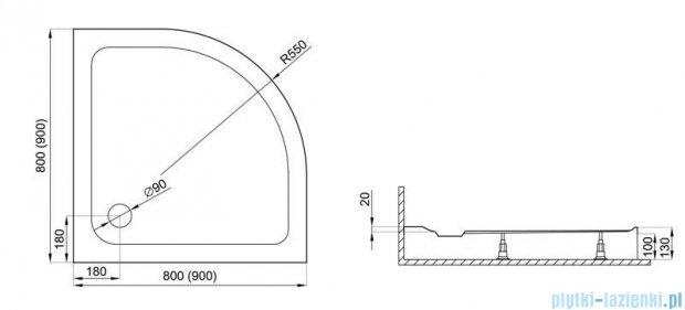 Polimat Standard 2 brodzik półokrągły 80x80x13 cm 00787
