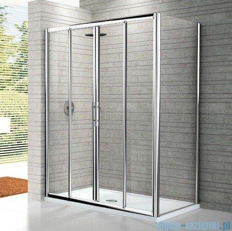 Novellini Drzwi prysznicowe przesuwne LUNES 2A 166 cm szkło przejrzyste profil srebrny LUNES2A166-1B