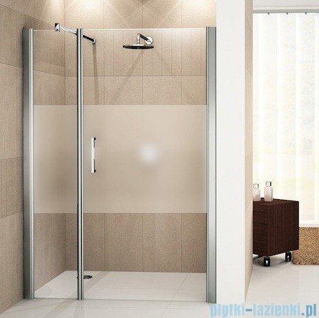 Novellini Drzwi do wnęki z elementem stałym GIADA G+F 132 cm prawe szkło przejrzyste profil biały GIADNGF132D-1A