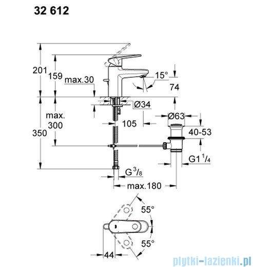 Grohe Europlus bateria umywalkowa DN 15 z korkiem 32612002