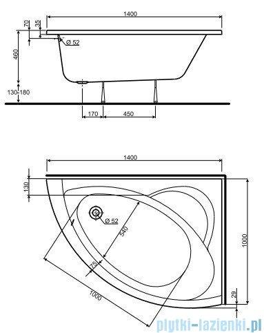 Koło Neo Plus Wanna asymetryczna 140x100cm Prawa XWA0740