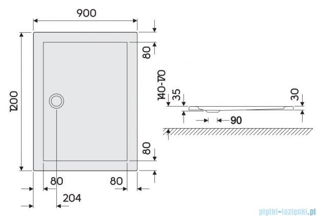 Koło Terra Brodzik 120x90cm prostokątny XBP1729000