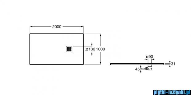 Roca Terran 200x100cm brodzik prostokątny konglomeratowy arena AP017D03E801510
