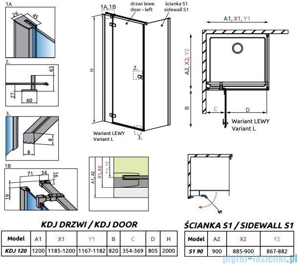 Radaway Essenza New Kdj kabina 120x90cm lewa szkło przejrzyste 385042-01-01L/384050-01-01