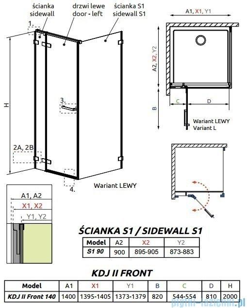 Radaway Arta Kdj II kabina 140x90cm lewa szkło przejrzyste 386457-03-01L/386046-03-01L/386021-03-01