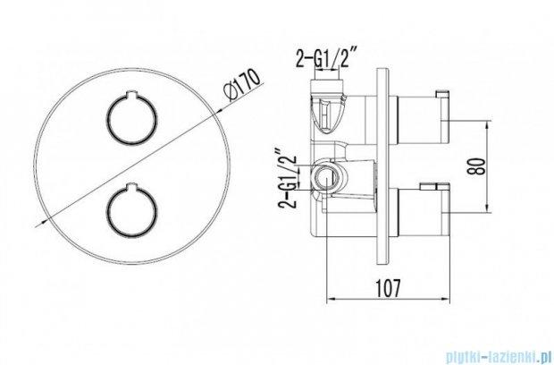 Omnires Y termostatyczna bateria natryskowa-wannowa podtynkowa chrom Y1236