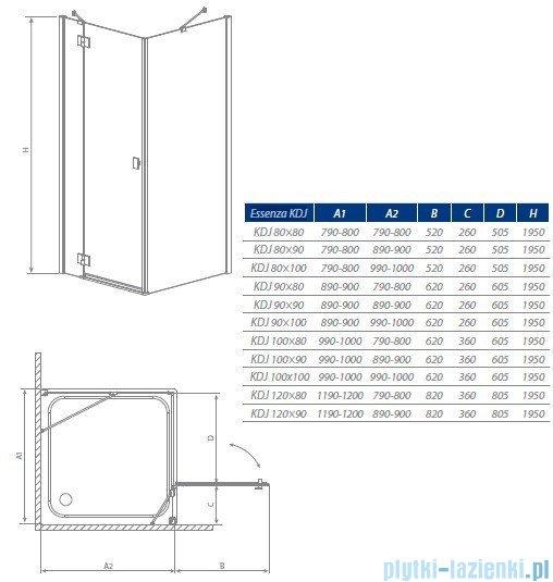 Radaway Kabina prysznicowa Essenza KDJ 90x80 prawa szkło grafitowe 32847-01-05NR