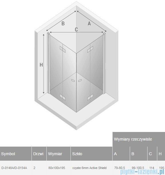 New Trendy New Soleo 80x100x195 cm kabina prostokątna przejrzyste D-0148A/D-0154A